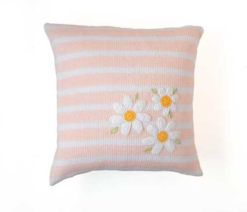 Pink Daisy Baby or Child's Pillow, Handmade, Fair Trade