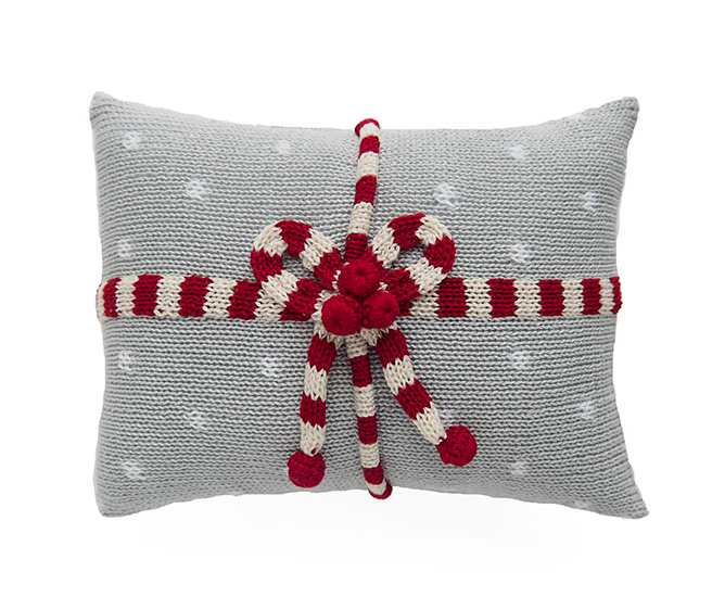 Hand Knit Mini Christmas Pillow, Grey Gift Candy Stripe & Dots, Fair Trade - Give Back Goods
