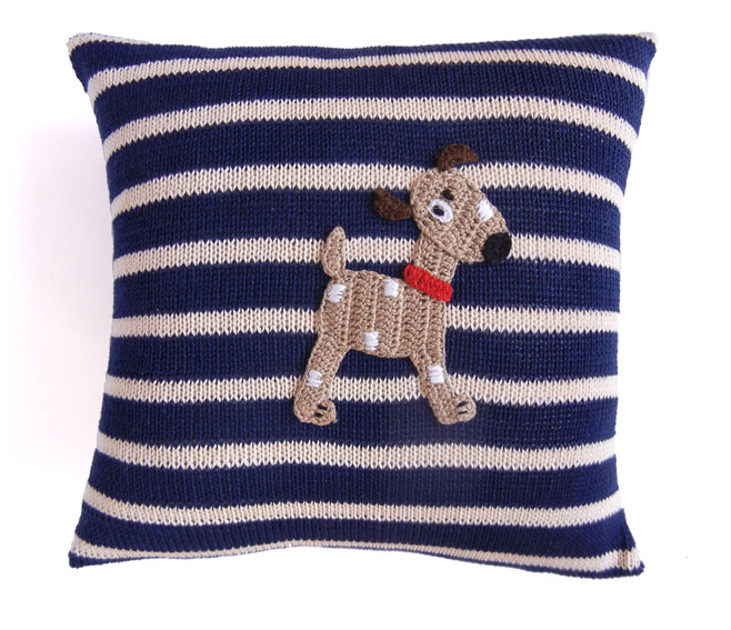 Spotted Dog Pillow with Navy Stripes, Handmade, Fair Trade