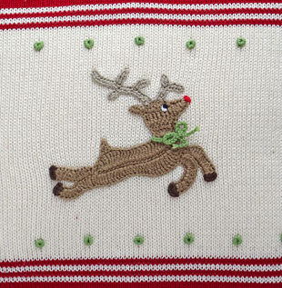 14 x14 Hand Knit Reindeer Christmas Pillow, Fair Trade - Give Back Goods