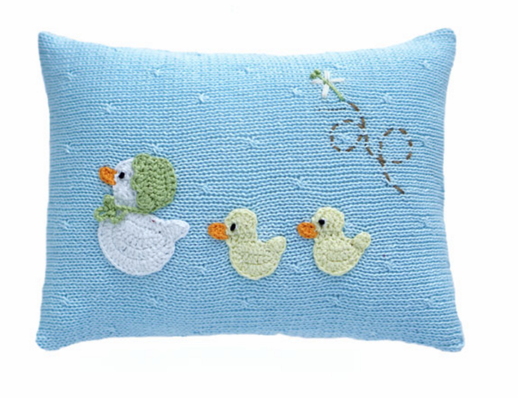 Mini Baby Duck Pillow, blue or pink, Fair Trade