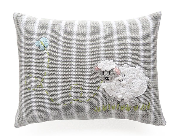 Grey Mini Sheep Baby Pillow, Handmade, Fair Trade
