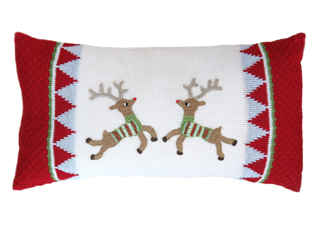 10x20 Hand Knit Reindeer Christmas Pillow, Support Fair Trade - Give Back Goods