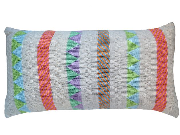 multi- color striped hand knit baby pillow, fair trade