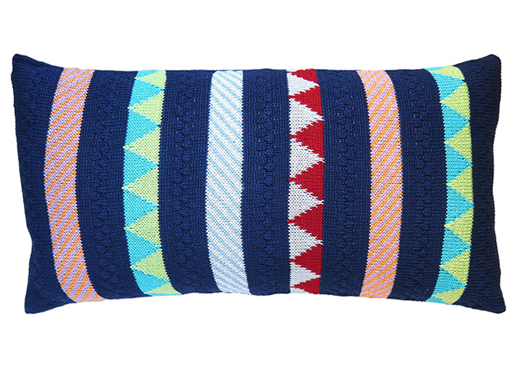 10x20 Hand Knit Navy & mult-colored striped Baby Pillow, Fair Trade