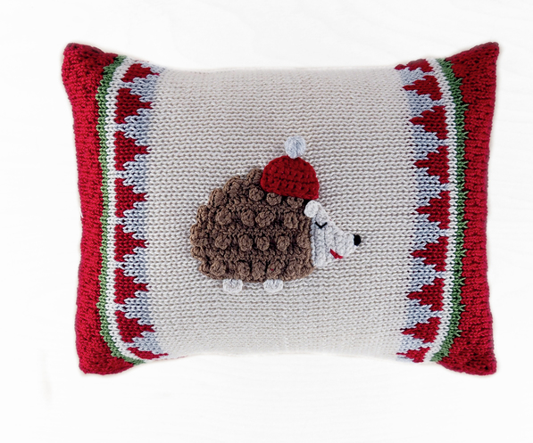 Hand Knit mini Hedgehog Christmas Pillow, Fair Trade - Give Back Goods