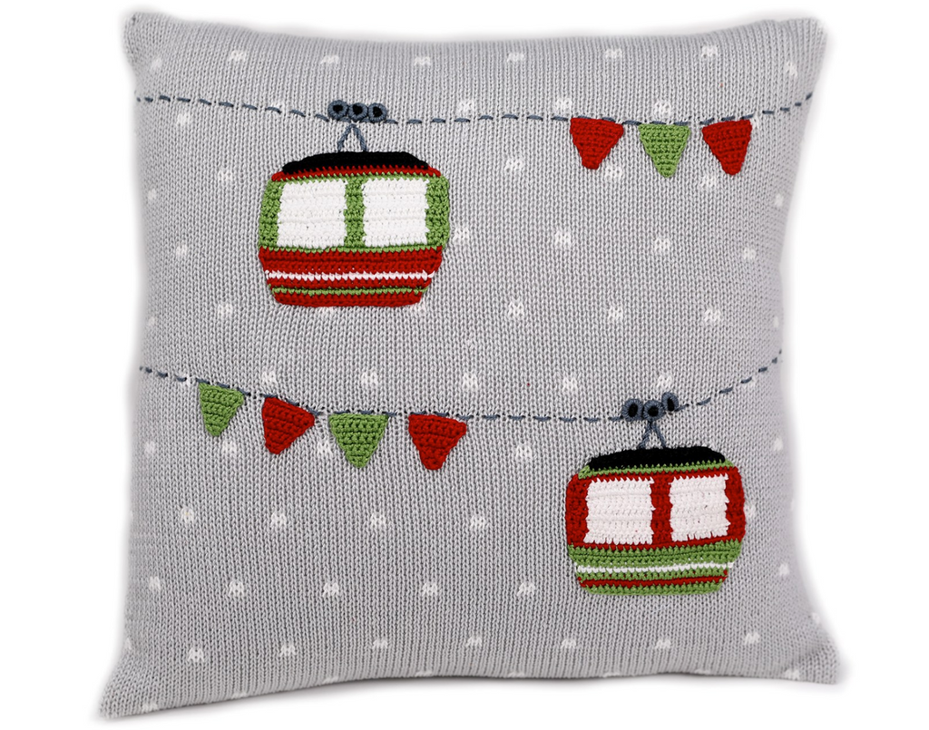 12x12 Hand Knit Grey Christmas Gondola Pillow, Fair Trade - Give Back Goods