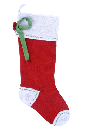 Hand Knit Red Christmas Stocking with Gift Bow & Stitching, Fair Trade - Give Back Goods