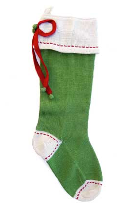 Hand Knit Green Christmas Stocking with Gift Bow & Stitching, Fair Trade - Give Back Goods
