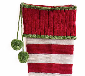 Hand Knit Red Stripe Christmas Stocking, Fair Trade, Support Women in Armenia - Give Back Goods