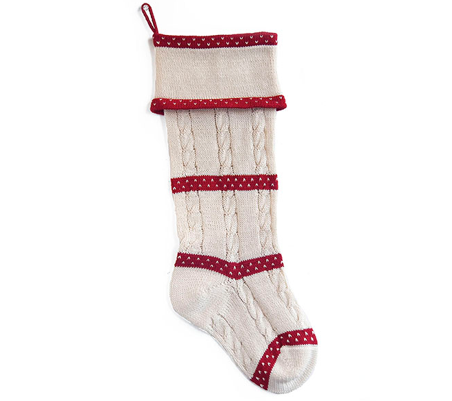 Hand Knit Cable Christmas Stocking, Fair Trade, Support Women in Armenia - Give Back Goods