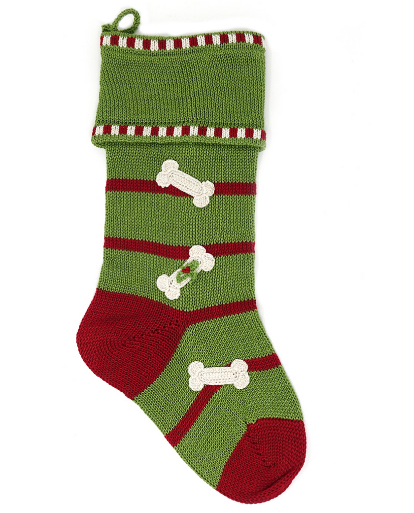 Hand Knit Green Dog Bone Christmas Stocking, Fair Trade, Support Women in Armenia - Give Back Goods