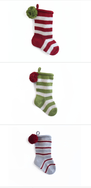 Set of 3 Hand Knit Mini Striped Christmas Stockings, Fair Trade - Give Back Goods