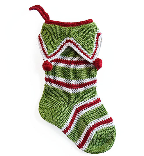 "Set of 3 Hand Knit Mini 7"" Christmas Stockings, Fair Trade - Give Back Goods"