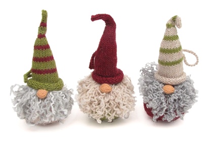 Set of 3 Hand Knit Gnome Head Ornaments, Fair Trade