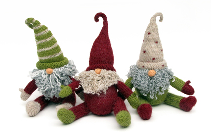 Set of 3 Hand Knit Sitting Gnomes, Fair Trade