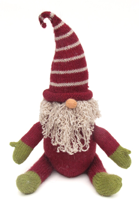 "Hand Knit 13"" Sitting Christmas Gnome, Fair Trade"