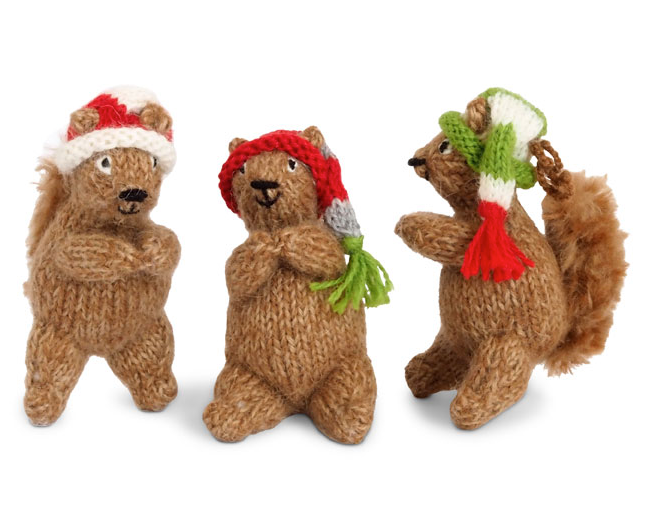 Set of 3 Hand Knit Woodland Squirrels in Christmas Hats, Fair Trade - Give Back Goods