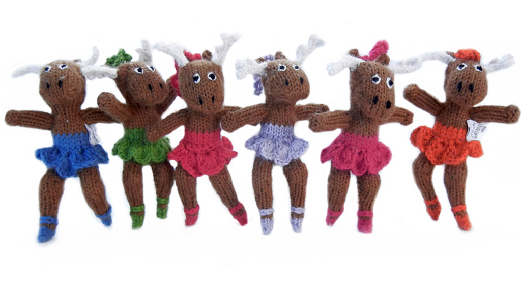 Set Of 6 Hand Knit Ballerina Moose Christmas Ornaments, Fair Trade - Give Back Goods