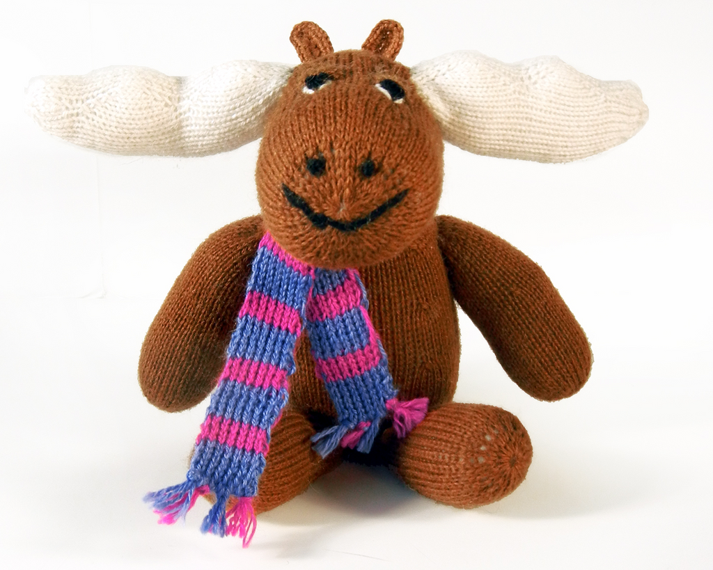 "Hand Knit 10"" Sitting Moose Stuffed Animal, Fair Trade - Give Back Goods"