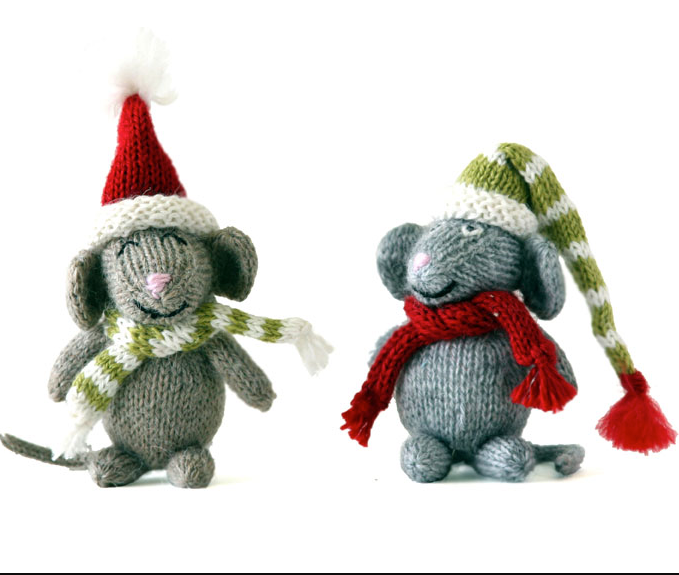 Set of 2 Hand Knit Mice Ornaments,  Fair Trade - Give Back Goods