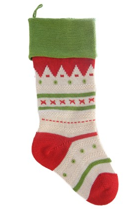 Hand Knit Nordic Stripe Christmas Stocking, Fair Trade - Give Back Goods