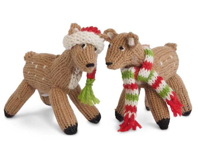 Set of 2 Hand knit Baby Deer Fawn Ornaments, Fair Trade - Give Back Goods