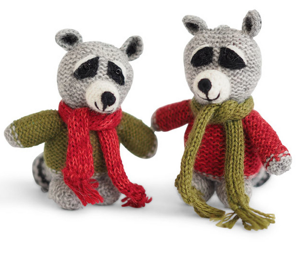 Set of 2 Hand knit Raccoon with Sweaters Ornaments, Fair Trade - Give Back Goods