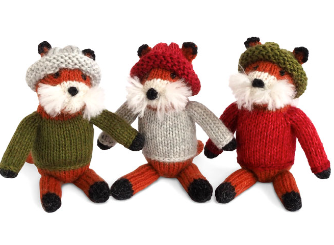Set of 3 Hand Knit Fox Ornaments in Sweaters, Fair Trade - Give Back Goods