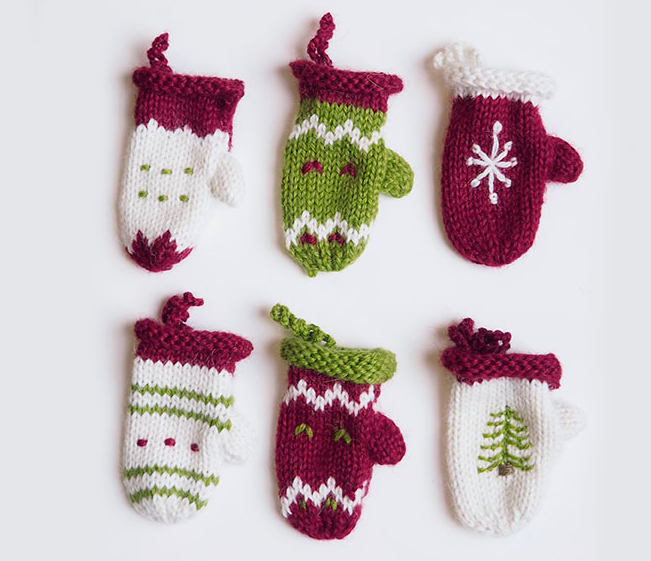 Set of 6 Hand knit Mitten Ornaments, Fair Trade - Give Back Goods