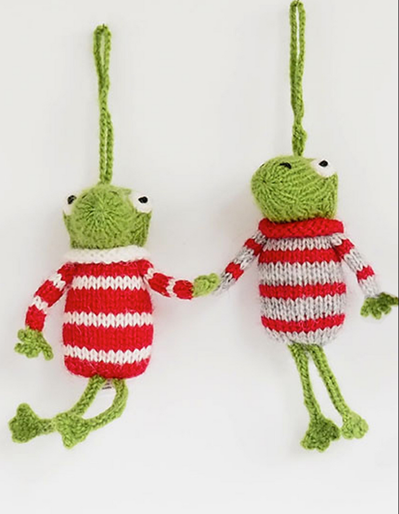 Set of 2 Hand knit Frog Ornaments,  Fair Trade - Give Back Goods