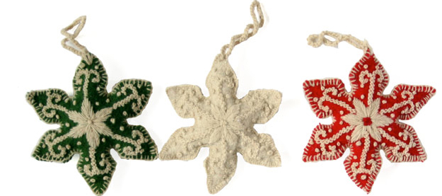 Set of 3 embroidered snowflake ornaments- Fair Trade - Give Back Goods
