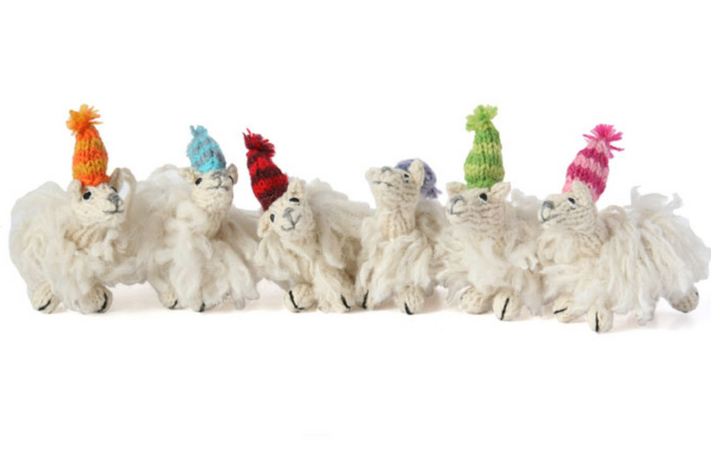 Set of 6 Hand Knit llama ornaments, Fair Trade - Give Back Goods