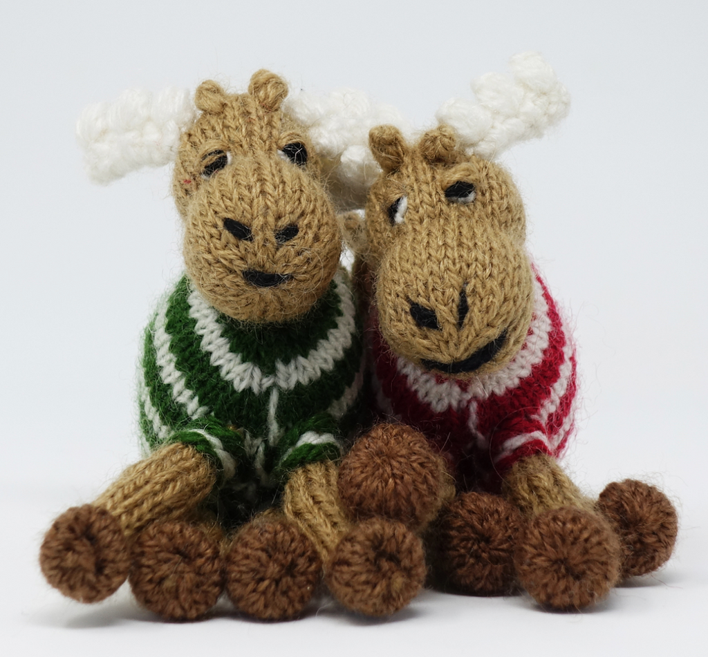 Set of 2 Hand Knit Moose Ornaments, Fair Trade - Give Back Goods