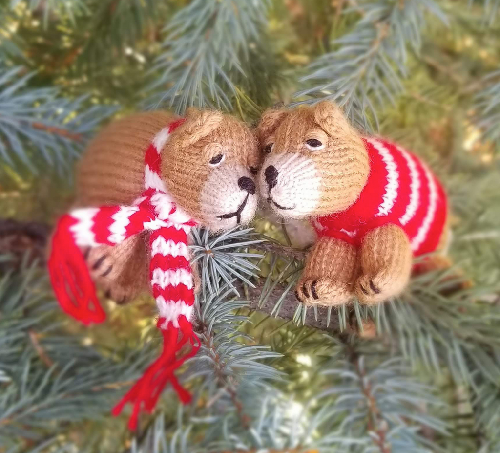 Set of 2 Hand Knit Bear Ornaments, Fair Trade - Give Back Goods