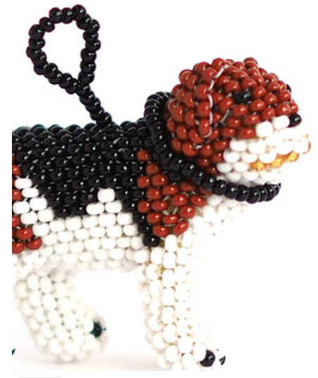 Set of 2 Beaded Glass, Beagle Dog and Dalmation ornaments, Handmade,  Fair Trade - Give Back Goods