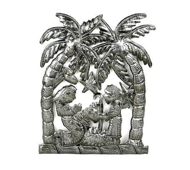 "11""x11"" Nativity Scene, Handcrafted from steel Drums in Haiti, Fair trade - Give Back Goods"