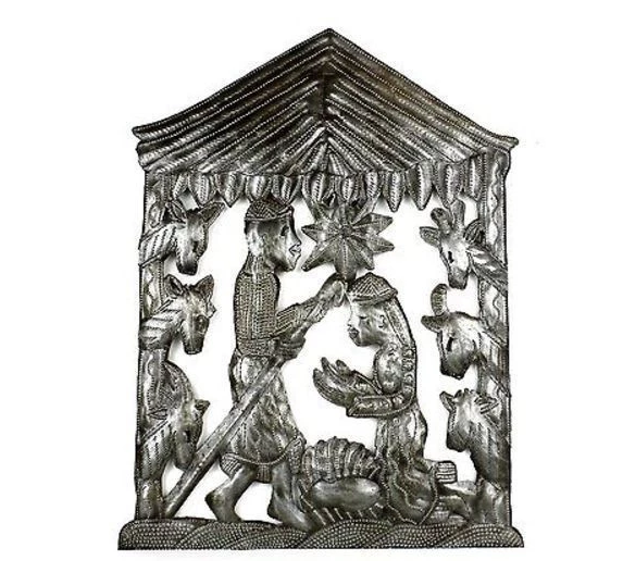 Handcrafted Metal Nativity Scene, Made From Steel Drums in Haiti, Fair trade - Give Back Goods