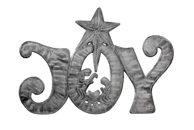 """Joy"" Metal Art With Nativity Scene, Handcrafted from steel Drums in Haiti, Fair trade - Give Back Goods"