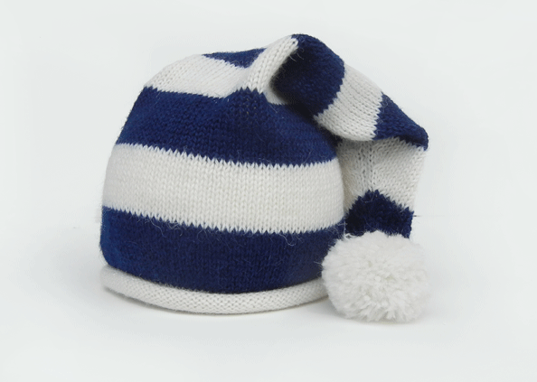Blue & White Striped Santa Baby Hat with Pom, Support Fair Trade for Artisans - Give Back Goods