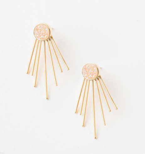 White Fringe Agate Stud Earrings, Give freedom & create careers for exploited girls & women! - Give Back Goods