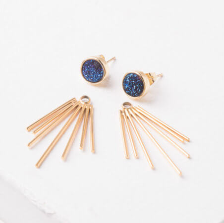 Navy Fringe Agate Stud Earrings, Give freedom & create careers for exploited girls & women! - Give Back Goods