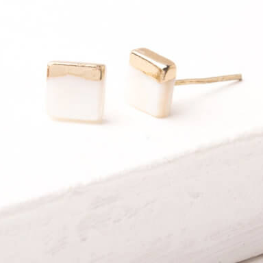Mother of Pearl Stud Earrings, Give freedom & create careers for exploited girls & women! - Give Back Goods