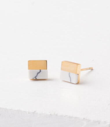 White Turquoise Howlite Stud Earrings, Give freedom & create careers for exploited girls & women! - Give Back Goods