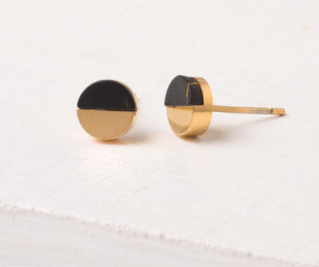 Black Turquoise Round Stud Earrings, Give freedom & create careers for exploited girls & women! - Give Back Goods