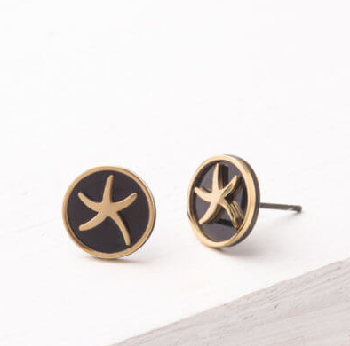 Starfish Gold & Black Round Stud Earrings, Give freedom & create careers for exploited girls & women! - Give Back Goods