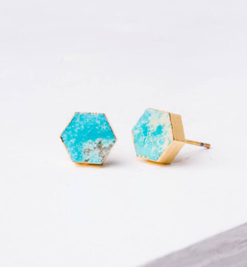Turquoise Hexagon Stud Earrings, Give freedom & create careers for exploited girls & women! - Give Back Goods