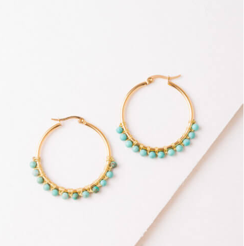 Turquoise Hoop Earrings, Give freedom to exploited girls & women! - Give Back Goods