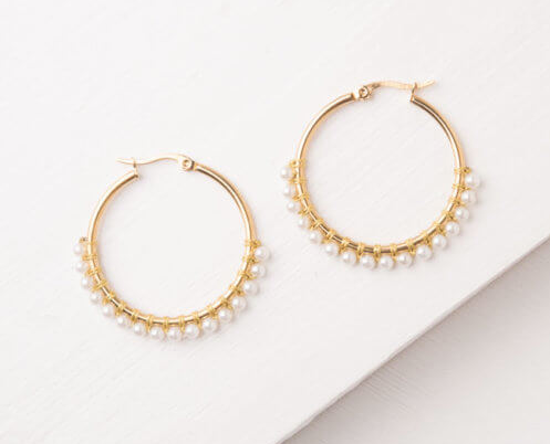 White Gold & Pearl Hoop Earrings, Give freedom to exploited girls & women! - Give Back Goods