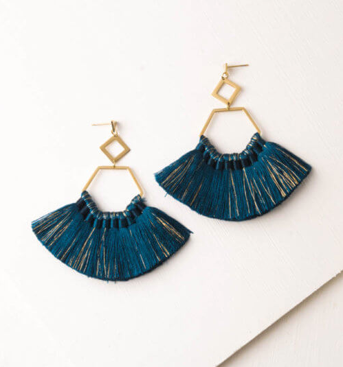 Sapphire Blue Tassel Earrings, Give freedom to exploited girls & women! - Give Back Goods